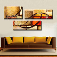 Cheap canvas art YELLOW 3 panels modern abstract oil painting on canvas hand painted wall art HOME DECORATION PICTURE 2P28