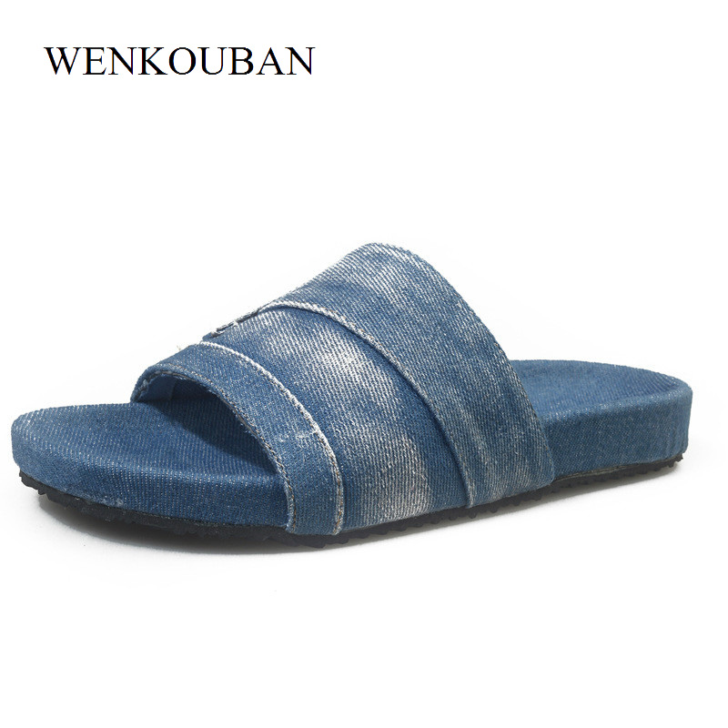 Designer Canvas Shoes Women Slippers Summer Beach Flip Flops Ladies Denim Flat Slide Casual Funny Slippers Mules Zapatos Mujer free shipping candy color women garden shoes breathable women beach shoes hsa21
