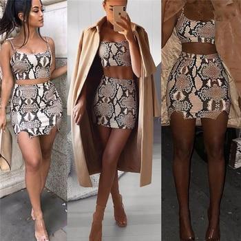 Fashion Ladies Snake Print Two Piece Set Streetwear Women Summer Sleeveless Bandage Crop Top Skirt set Party Club 2 piece set 5