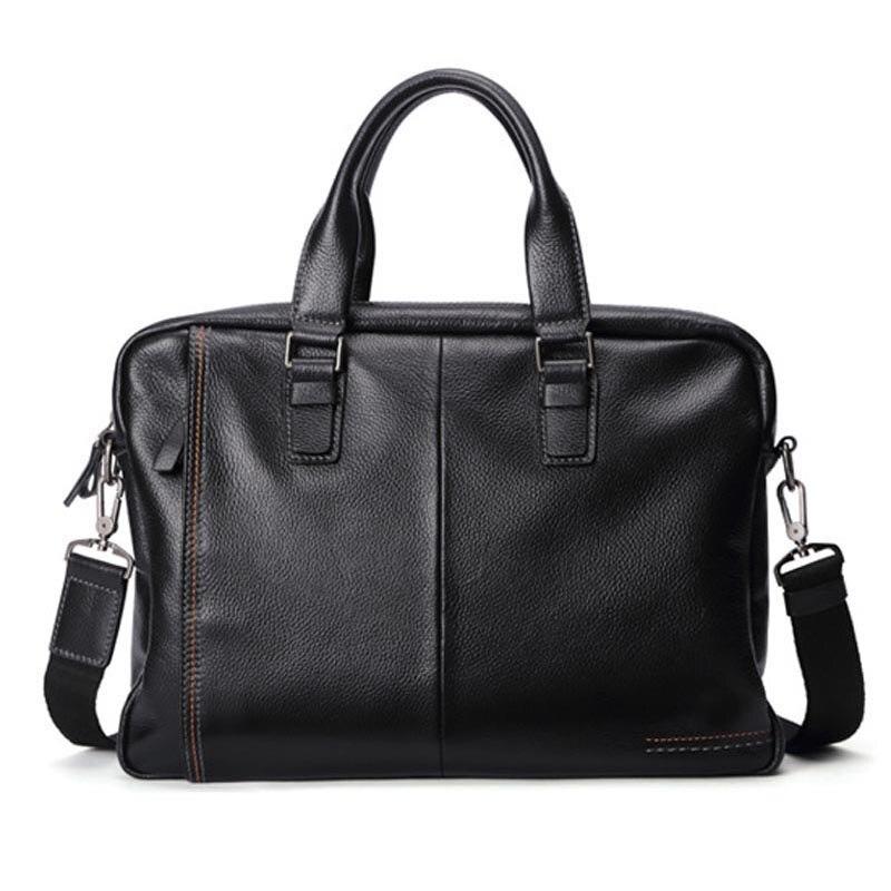 100% Kuh Echtes Leder Männer Aktentasche Tasche Business Handtasche Männlichen Laptop Schulter Taschen Tote Computer Natürliche Haut Männer Aktentasche