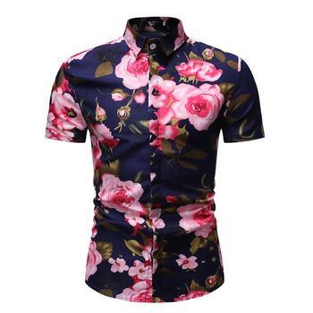 Fashion Floral Mens Shirts Dress Summer Social Blouse Men Casual Hawaiian Shirt Short sleeve Flower New Summer balloon and butterfly бежевое платье с драпированным подолом сorinne
