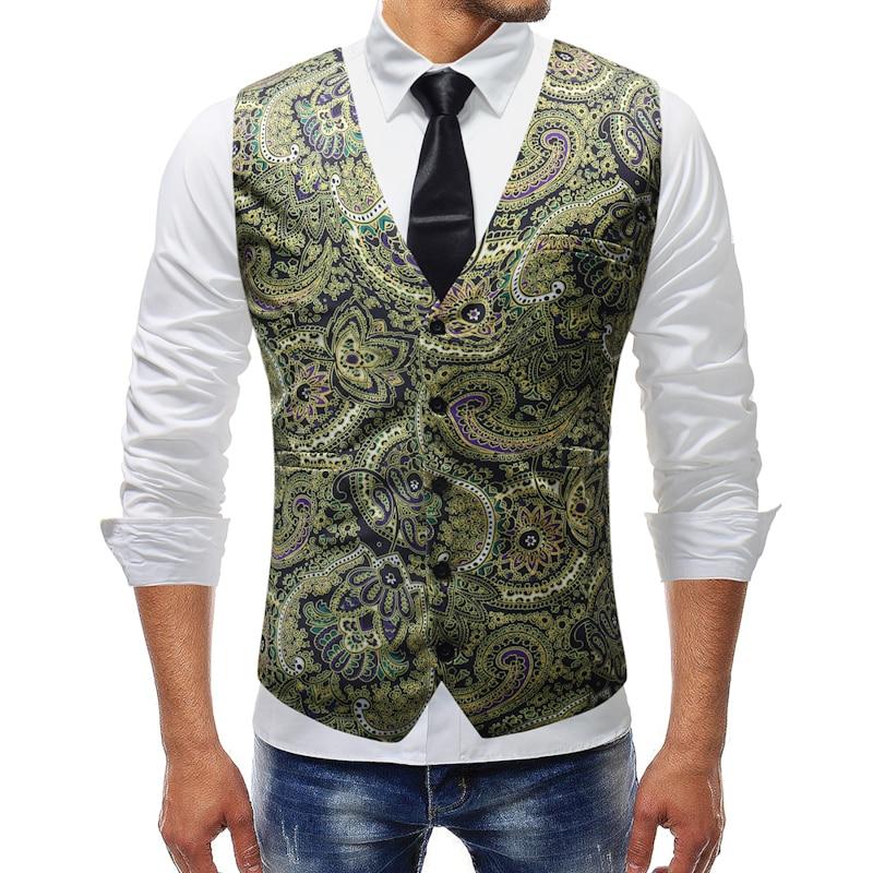 men suit vest 2018 sleeveless plus size 5xl waistcoats fashion print formal