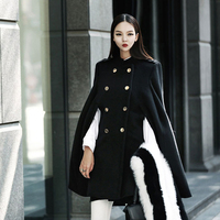 new arrival women fashion comfortable thick warm wool blend outdoor temperament elegant vintage trend party coat black blend