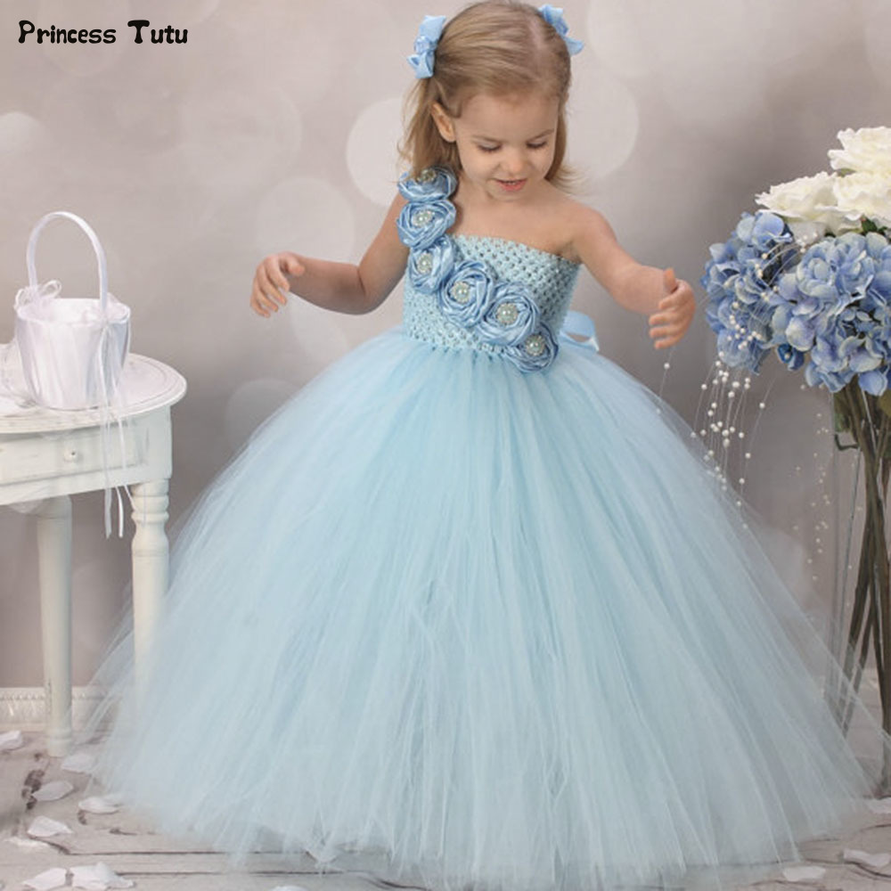 Cute Blue Flower Girls Dresses for Weddings Pink Rose Flower Kids Tutu Dresses for Girls Pageant Party Dress Children Clothes
