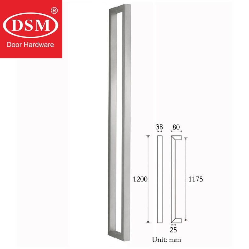 Poignée de porte d'entrée Durable en acier inoxydable brossé pour portes en verre, en bois et en métal PA-130-38 * 25*1200mm - 2