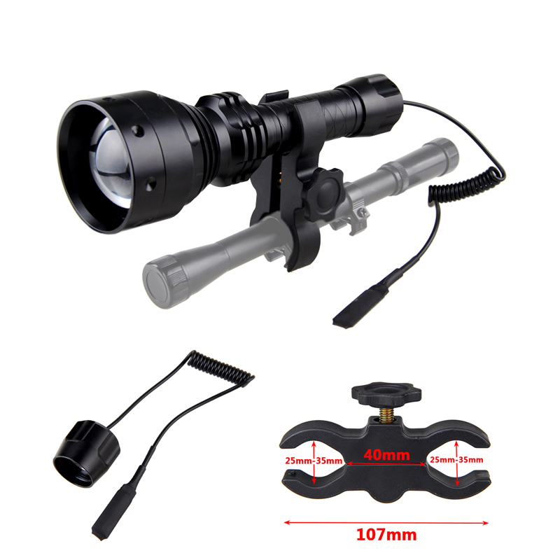 Portable Hunting Torch IR 850nm Night Vision Flashlight Infrared Zoomable LED Light with Rechargeable Battery and Charger
