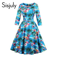 Sisjuly 1950s Vintage Dresses Women Autumn Floral Print O Neck Mid Calf Pullover Party Elegant Vintage