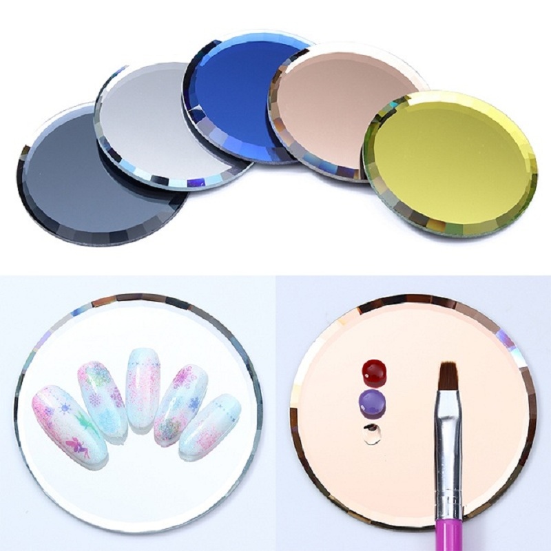 Dual-ended Nail Polish Cream Mixing Spatula Spoon Stick Mirror Glass False Nail Tips Display Board Color Palette