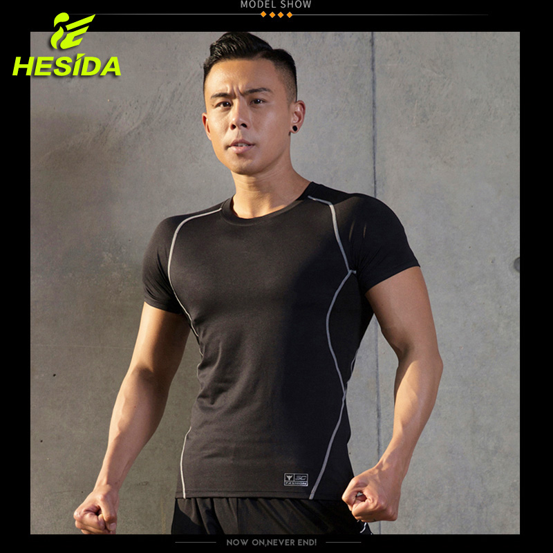 Quick Dry Running Top Shirts Man Compression Fitness Shirt Men Training Workout Tight Gym Sportwear Men 39 s Short Sleeve t shirts in Running T Shirts from Sports amp Entertainment