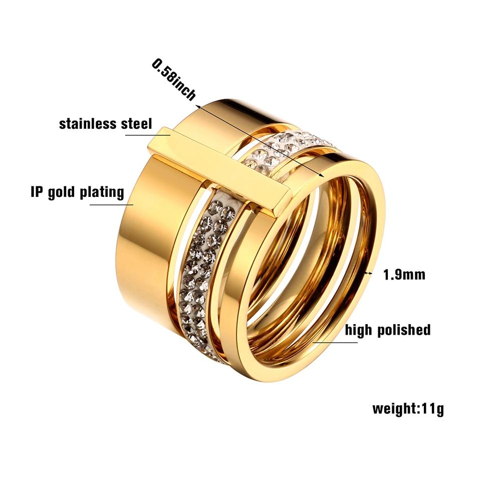 Rustfritt stål Rose Gold Rings for Woman Menn Stones og krystaller - Mote smykker - Bilde 4