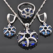 Женские Свадебные Ювелирные наборы с серебряным Цвет синий цирконием