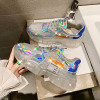 Spring Women Chunky Sneakers Harajuku Casual Platform Sneakers Transparent Jelly Sole Breathable Mesh crystal Sneakers QQ 84