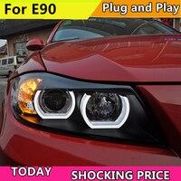 Автомобилей для укладки фары для BMW E90 фары 318i 320i 325i фар светодиодный Ангел глаза спереди свет для 318 320 325 би ксенон Len