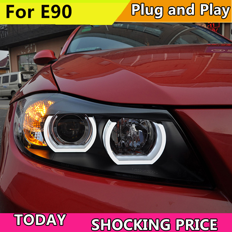 Car Styling Car Headlights For BMW E90 headlamp 318i 320i 325i Headlight LED Angel eyes Front light for 318 320 325 Bi Xenon Len pair car front headlamp clear lens headlight plastic shell clear cover for bmw e90 e91 2004 2005 2006 2007
