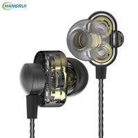 HANGRUI Dual Dynamic Driver HIFI Earphones In Ear Bass Sound Gaming Headset Turbo Mp3 DJ Field