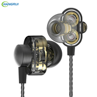 HANGRUI Dual Dynamic Driver HIFI Earphones In Ear Bass Sound Gaming Headset Turbo Mp3 DJ Field
