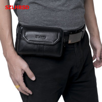 SZLHRSD New Men S Genuine Leather Waist Pack Cell Phone Case For Ulefone Mix 2 Armor