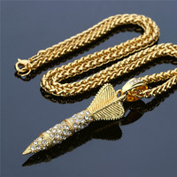 Darts Arrow Pendant Necklace Hip Hop Iced Out Bling Rhinestone Punk Rocket Statement Necklaces Stainless Steel