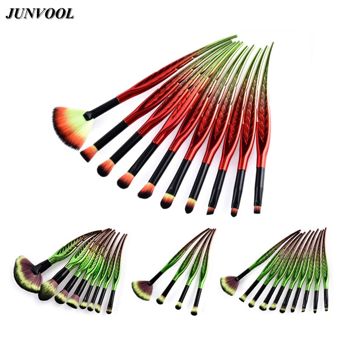 Leaves Handle Makeup Brushes Set Cosmetic Foundation Eyebrow Eyeliner Blush Powder Concealer Blending Fan Brush Green Red Newest 24pcs makeup brushes set cosmetic make up tools set fan foundation powder brush eyeliner brushes leather case with pink puff
