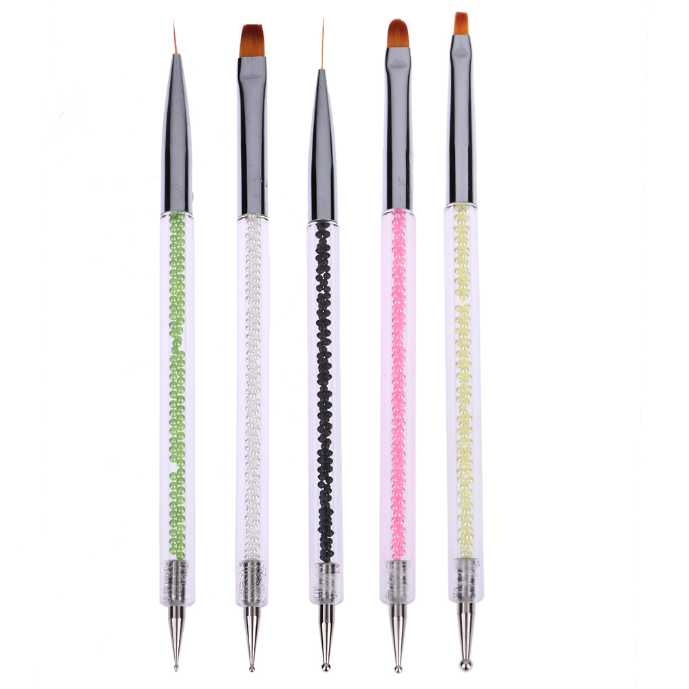 5pcs Acrylic 2 Way Nail Dotting Pen Pencil Colorful Rhinestone Nail Painting Drawing Polish Decoration Brush DIY Nail Art Pencil