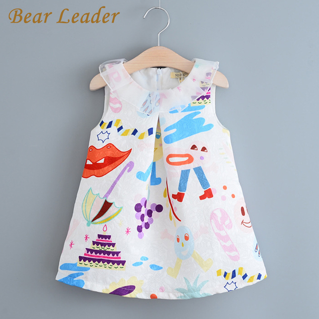 Bear Leader Девушки Одеваются 2017 Новый Милый Стиль Девушки Одежда Детская Одежда Симпатичные Рукавов Твердые pattern Детская Одежда