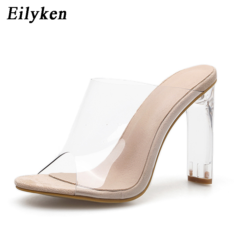 Image 2 - Eilyken New Women Slippers PVC Crystal Square heel Transparent Clear High heels Summer Slippers Sandals Pumps 11cm size 35 40-in Slippers from Shoes