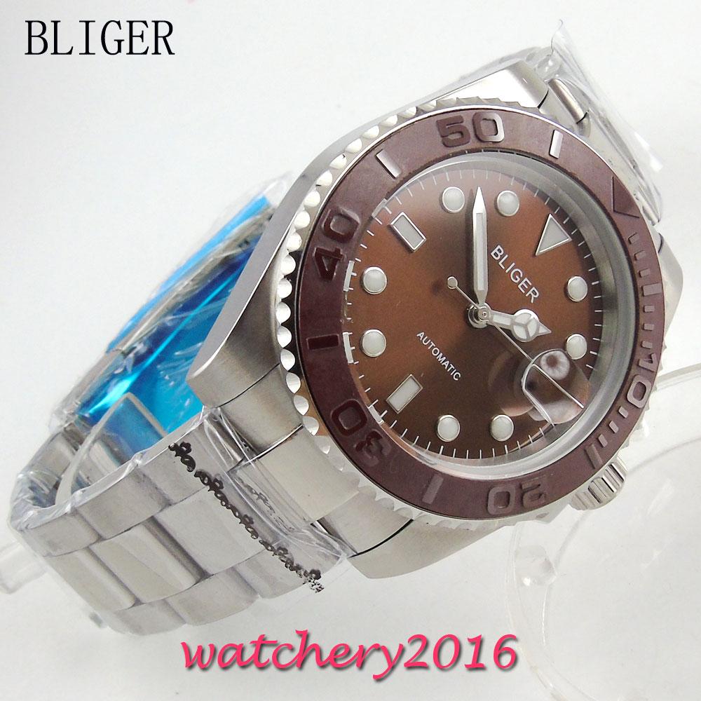 40mm Bliger Sterile Brown Dial Bracelet Buckle Complete Calendar Sapphire Crystal Automatic Mechanical Newest Men's Wristwatch survival nylon bracelet brown
