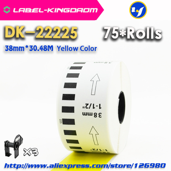 75 Refill Rolls Yellow Color DK-22225 Label 38mm*30.48M Continuous Label for Brother Printer DK-2225 DK22225