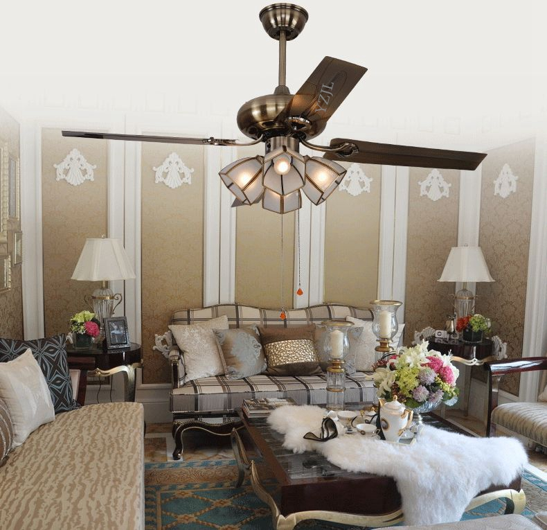 Continental antique copper ceiling fan lamp simple fashion - Best ceiling fan with light for bedroom ...