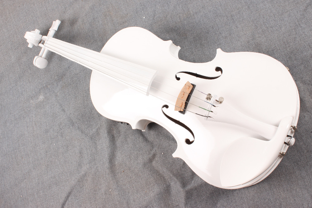 new 4-String white  4/4  Electric Acoustic Violin   color   #1-2531#  what color do you like? one 4 string 4 4 violin electric violin acoustic violin maple wood spruce wood big jack green color