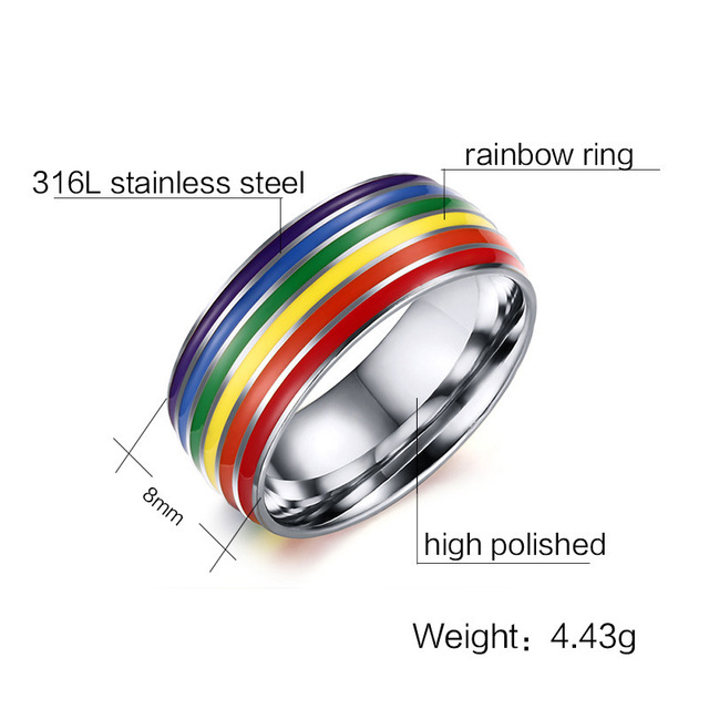 cheap wholesale gay pride rings6 colors safe enamel rainbow engagement pride striped lgbt ring gay wedding rings lgbt - Lgbt Wedding Rings