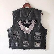 Мужской кожаный жилет с вышитыми буквами, мотоциклетный жилет без рукавов с v образным вырезом размера плюс, YT50106