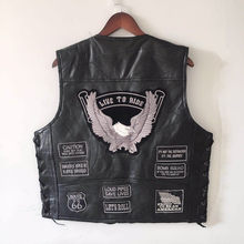 Letter Embroidery Motorcycle Leather Vest Men Spring New Fashion Punk Sleeveless Jacket V Neck Plus Size Waistcoats YT50106