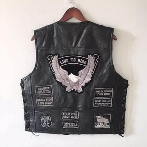 Image 1 - Letter Embroidery Motorcycle Leather Vest Men Spring New Fashion Punk Sleeveless Jacket V Neck Plus Size Waistcoats YT50106