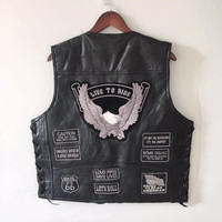 Letter Embroidery Motorcycle Leather Vest Men Spring New Fashion Punk Sleeveless Jacket V Neck Plus Size Waistcoats YT50106
