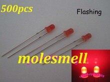 free shipping 500pcs 3mm Red Diffused Round Self Flash Flashing LED Blink Bright Leds Light 3mm red lens flashing led