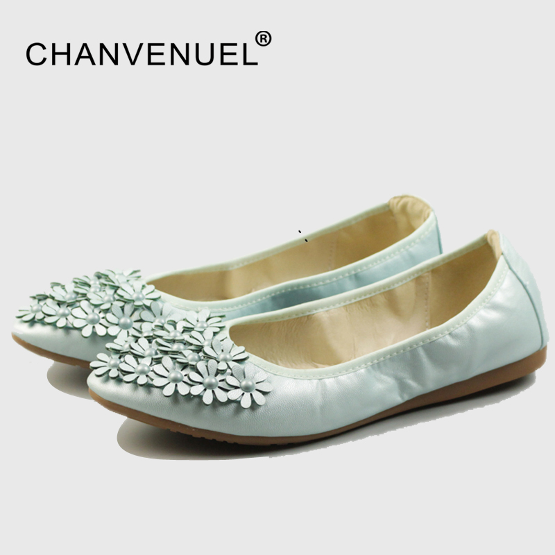 Women Foldable Ballet Shoes Flower Egg roll shoe Woman PU Pointed Toe Girl Shollow Single Shoes Ballet Flats Girl Ladies 34-45 women ladies flats vintage pu leather loafers pointed toe silver metal design