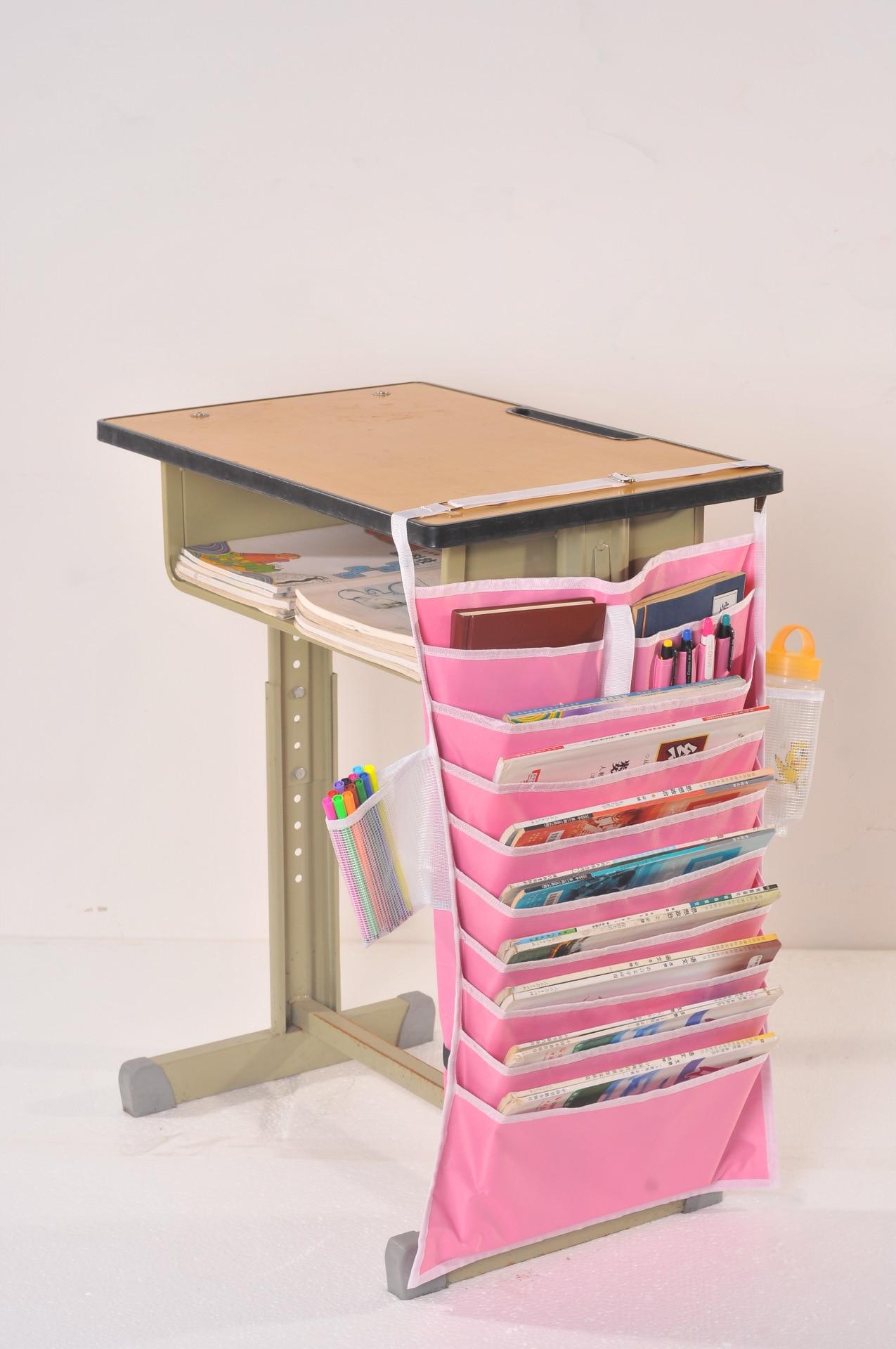 Thick multi-function desk storage artifact hanging bag Adjustable student desk rack book storage bag