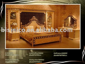 Luxury king size classsical antique bedroom furniture set - King size bedroom set with mirror headboard ...