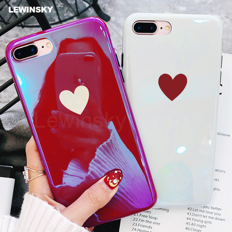 Original Blu-ray Love Heart For iPhone 6 6s 7 8 Plus X case Shockproof full cover For iPhone 7 8 6 6s Plus case Soft TPU Coque