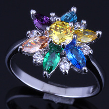 Charismatic Star Multi-Gem Multi-Color Yellow Cubic Zirconia 925 Sterling Silver Ring For Women V0140