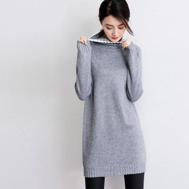 a997a91ed5b Женская длинная водолазка кашемировые вязаные свитера и пуловеры женские  теплые Джемперы Осень Зима Серый Черный свободный