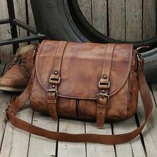 цена на Vintage Genuine Leather Messenger Bag men Leather Shoulder Bag Men Crossbody Bag male Casual Sling Leisure Bag Brown Grey Coffee
