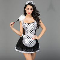 Hot Sale Sexy Plus Size Lingerie Sexy Cosplay Dot Printing Limitation Sexy Maid Room Servant Erotic Lingerie Large Big Size