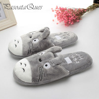 Totoro Cute Cat Cartoon Animal Women Men Couples Homen Slipper For Indoor House Bedroom Flats Comfortable