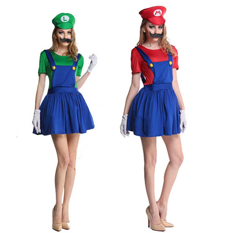 3PCS Women's Super Mario Dress Costume With Hat Moustache Luigi Lady's Female Deluxe Halloween Costumes Party Outfits