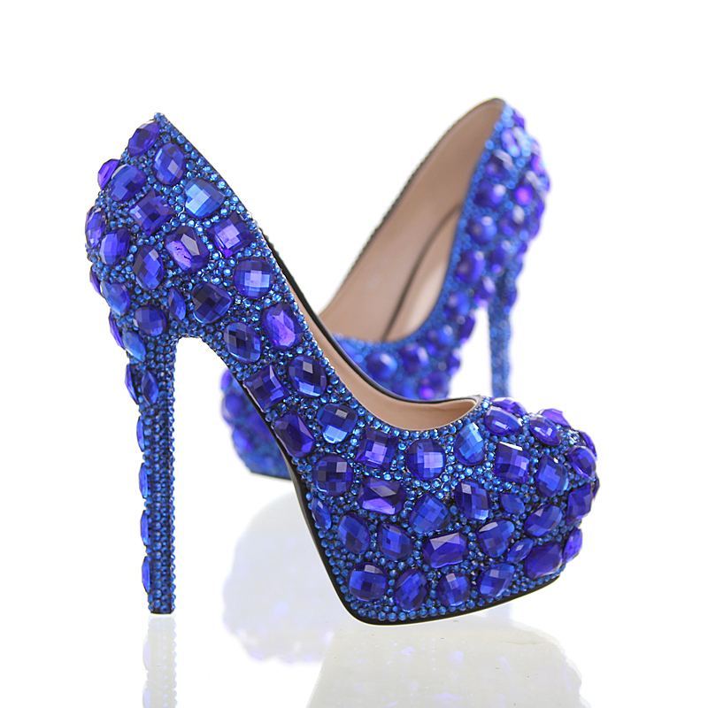 ФОТО Fashion Blue rhinestone wedding shoes Luxury woman's up heel platform shoes plus size 34-43 shoes women high shoes free shipping