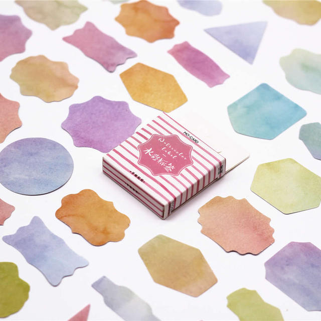 40Pcs/Set Free Shipping Watercolor Label Memo Pad Diary Sticker Planner  Scrapbooking Stationery Sticker Escolar School Supplies-in Memo Pads from