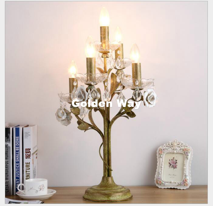 Gratis Verzending Europese Bloemen Crystal Tafellamp D35cm Nordic K9 Tafellamp Woonkamer Lampen Slaapkamer Verlichting Ac Led Tafel Lamp Modern En Elegant In Mode