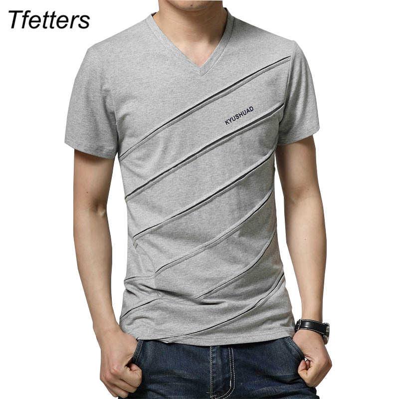 26bacebcb8d TFETTERS New Arrival Casual Men s T-shirt Stripe Design Short Sleeve V neck  T-